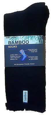 6 Prs Mens Sz 11-14 Black 92% Bamboo Heavy Duty Cushion Foot Work/Hiking Sock