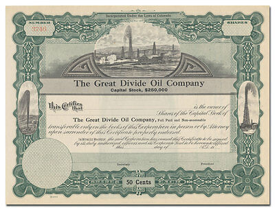 Great Divide Oil Company Stock Certificate