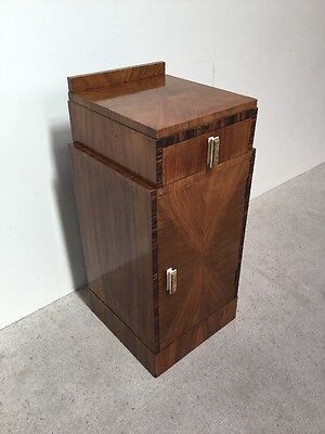Art Deco Walnut Bedside Cabinet Pot cupboard Antique Walnut