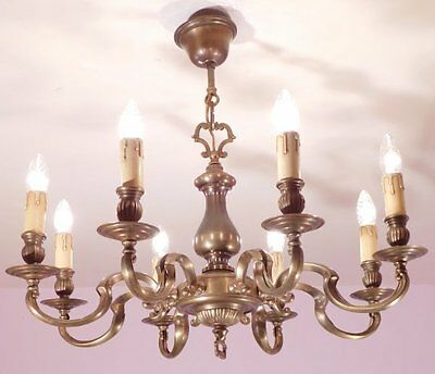 Handsome 8 Light Vintage French Chandelier in Bronze