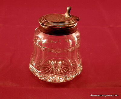 Vintage Sterling Silver And Crystal Jam/jelly Condiment mustard