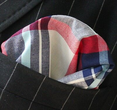 Hankie Pocket Square Cotton Handkerchief White Pink & Blue Square CH105