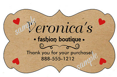 BROWN KRAFT CUSTOMIZED SCALLOP THANK YOU STICKERS  Design #2 - LASER PRINTED