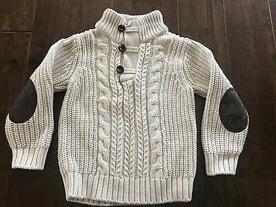 Gap Boys Cable Knit Fisherman Mock Cotton Sweater with Elbow Patches Size 4 EUC