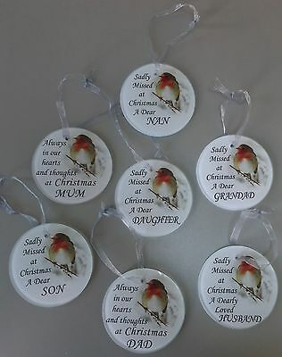 Christmas Glass Robin Tree Memorial Hanging Decoration Tribute Gift
