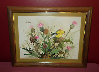 1984 GOLDFINCH ON THISTLES PAINTING Original Acrylic Realism CODARO