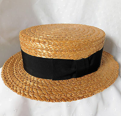 Vintage Olney natural straw boater 58 cm UK hat size 7 1/8 Large Black ribbon