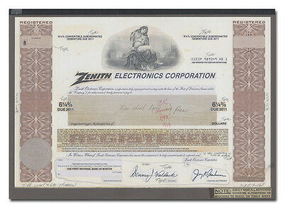 Zenith Electronics Corporation Production Folio - American Bank Note Archives