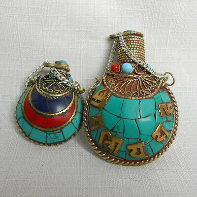Lot of 2 Vintage Handcrafted SNUFF Bottles with Mosaic Stone Accents INDONESIAN