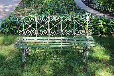 Antique Victorian Wrought Iron Garden Park Bench-Chippy Paint-Architectural