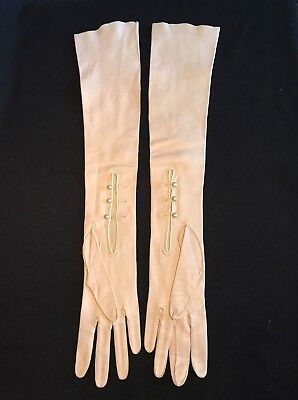 "Antique 21"" Long Ivory White Kidskin Gloves made in France"