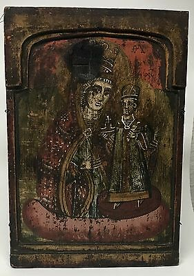19th C. Antique Greek Russian Orthodox Tryptic Panel Icon