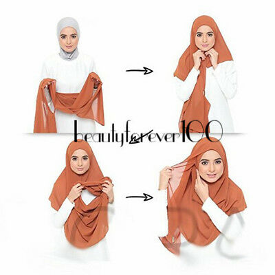 One Piece Chiffon Maxi Scarf Hijab Ready Made Pull on Instant Scarf Wrap Muslim