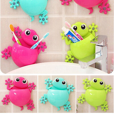 Cute Bathroom Toothbrush Wall Mount Holder Sucker Suction Cups Organizer for Kid