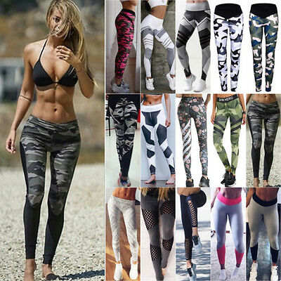Ladies High Wasit Jogging Yoga Fitness Leggings Gym Sport Pants Stretch Trousers