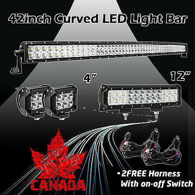 "42Inch Curved LED Light Bar + 12in + 4"" CREE PODS OFFROAD SUV 4WD FOG JEEP 50 20"