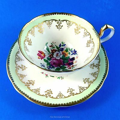Rich Colorful Bouquet Center with Light Green Edge Aynsley Tea Cup and Saucer