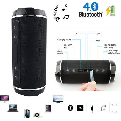 Rechargeable Wireless Bluetooth Mobile Phone Speaker Black with FM radio AUX USB