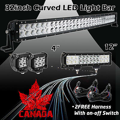"32Inch Curved LED Light Bar + 12in + 4"" CREE PODS OFFROAD SUV 4WD FOG JEEP 30 20"