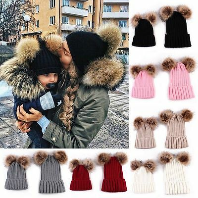 Fashion 2pcs Mom Kids Boy Girls Warm Double Fur Pom Bobble Knit Beanie Hat Cap