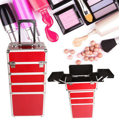 5 in 1 Aluminium Makeup Vanity Case Cosmetics Nail Hairdressing Box Trolley Case