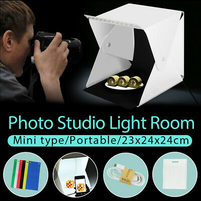 LED Light Room Photo Studio Photography Lighting Tent Kit 2Pcs Backdrop MINI Box