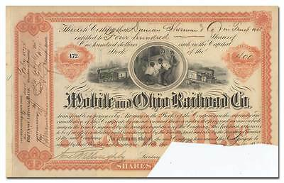 Mobile and Ohio Railroad Co. Stock Certificate