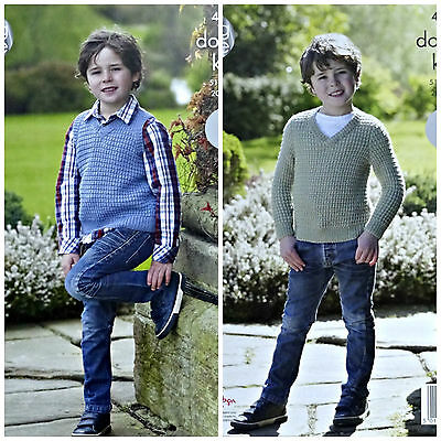 Easy Knit KNITTING PATTERN Boys V-Neck Jumper & Slipover DK King Cole 4942