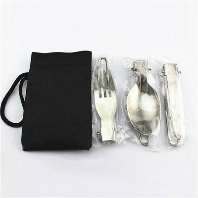 Camping Folding Picnic Fork Knife Spoon Set Picnic Tool Stainless Steel Hiking W