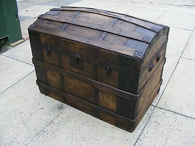 Antique Early 19 Century Wooden Travel Chest. Distressed Log Box, Man Cave