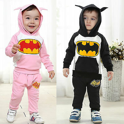Boys Girls Batman Hooded Sweatshirt Top Pants Winter Tracksuit Suit Outfits Sets