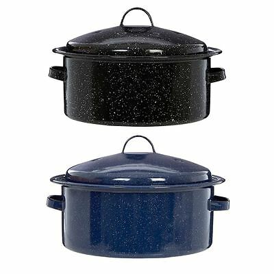 Round Self Basting Roaster Black & Blue Enamel Finis With Lid and Handle