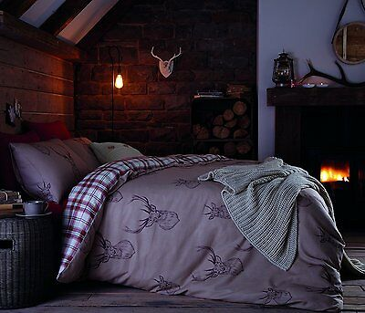 Catherine Lansfield Stag Reversible Duvet Cover Set Multi Polycotton All Sizes