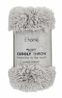 Catherine Lansfield Home Cuddly Soft Knit 100% Acrylic Cosy Silver Throw