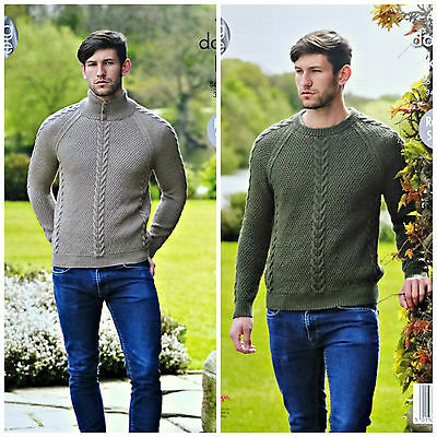 KNITTING PATTERN Mens Round/High Button Neck Cable Jumpers DK King Cole 4940