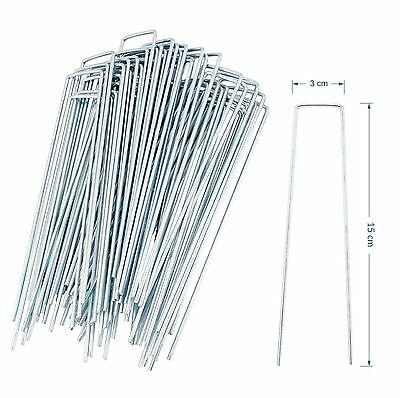 100 Pack Galvanised U Pins Ground Garden Membrane Fabric Hooks Pegs Staples