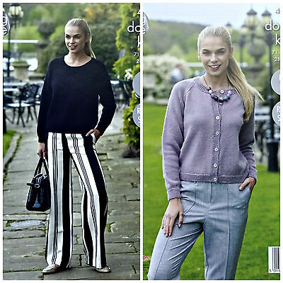 KNITTING PATTERN Ladies Easy Knit Long Sleeve Jumper &Cardigan DK King Cole 4935