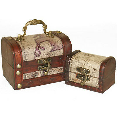 Set of 2 Wooden Treasure Map Style Chests Rustic Vintage Jewellery Trinket Boxes