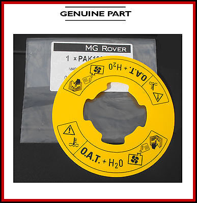 Yellow O.A.T. Label for the Coolant Bottle _ MGTF MGZR MGZS MGTF _ Genuine