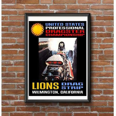 Lions US Professional Dragster Championship Event Poster - Vintage Drag Racing