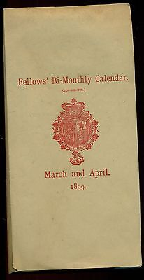 1899 Fellows' Bi-Monthly Calendar/Notepad March and April