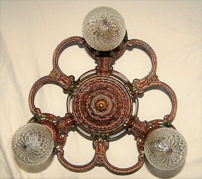 Vintage Art Deco Era Cast Metal Flush Ceiling Light Fixture Chandelier  1930
