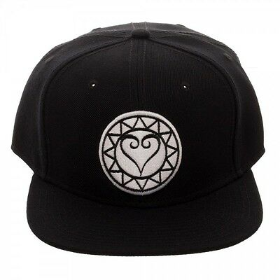 6aa5f4ea121 Disney Kingdom Hearts Embroidered White Logo Black Snapback Hat Cap Flat  Bill