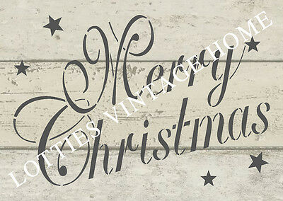 STENCIL A5  - MERRY CHRISTMAS SCRIPT FONT Furniture Fabric Vintage Shabby Chic