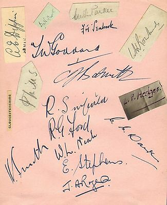 1930s group of gloucestershire cricket autographs !