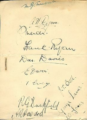 1930s group of glamorgan cricket autographs !