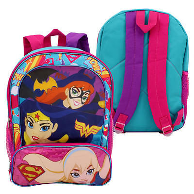 """Backpack 16"""" With Front Pouch DC Super Hero Girls Trio NEW"""