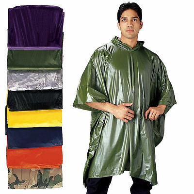 Rain Poncho Waterproof Vinyl Reusable With Pouch Rothco 3682 , Waterproof Poncho