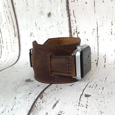 Handmade Personalised 42mm 40mm 38mm 44mm Apple Watch iWatch Band Leather Cuff