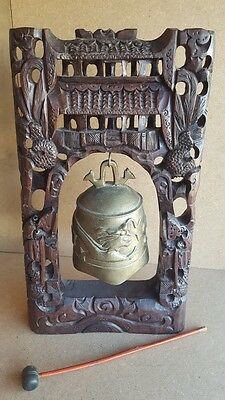 """LARGE CHINESE GONG BELL Hangs in a Hand Carved Wooden Stand 17"""" Tall"""